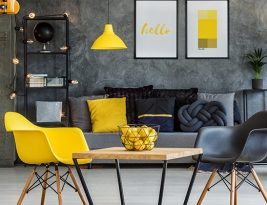 Cosy Bright Office In Yellow And Grey Colors