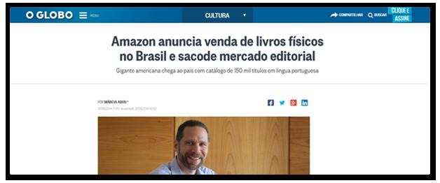 Notícia do Globo: Amazom anuncia venda de livros físicos no Brasil