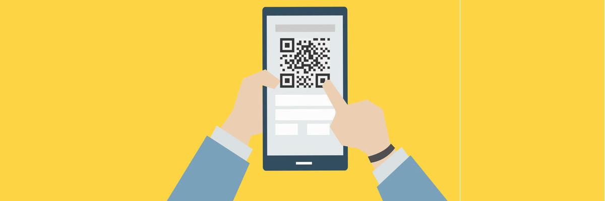 Imagem de um celular com QR code para pagar boleto bancário