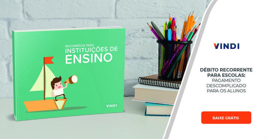 Imagem do e-book recorrência para instituições de ensino e botão para download do arquivo