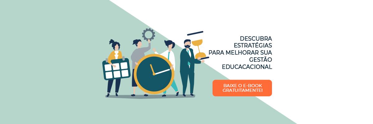 Ilustrações de pessoas segurando objetos com a temática de tempo e um botão laranja para fazer o download do e-book de gestão educacional