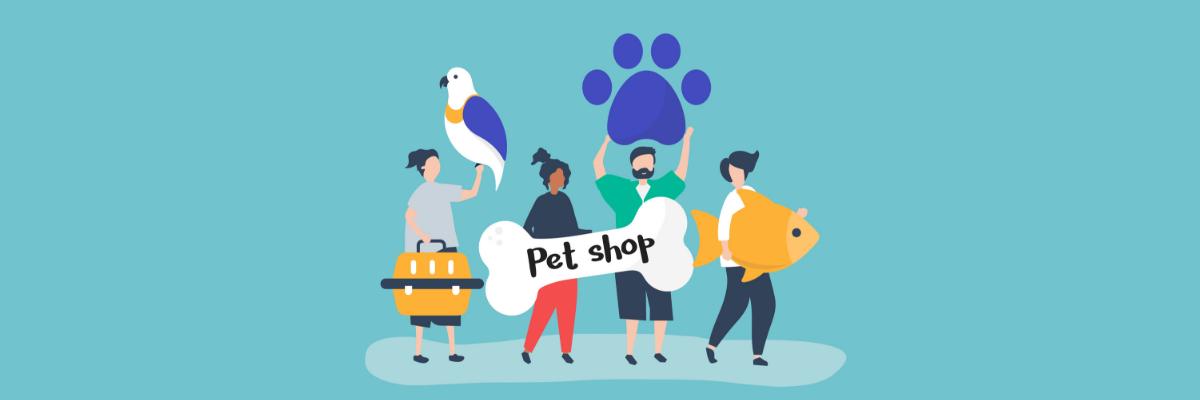 Imagem de pessoas e animais segurando objetos que remetem à petshops
