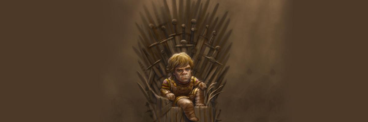 Tyrion sentado no trono da Recorrência
