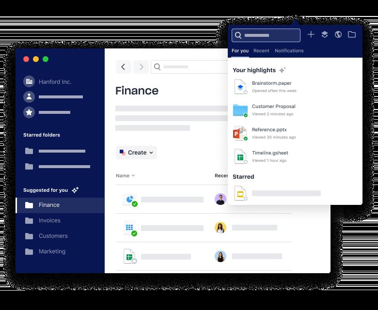 Imagem da página inicial do Dropbox, um exemplo de as a service