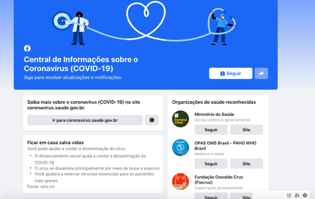 facebook e suas iniciativas contra a crise