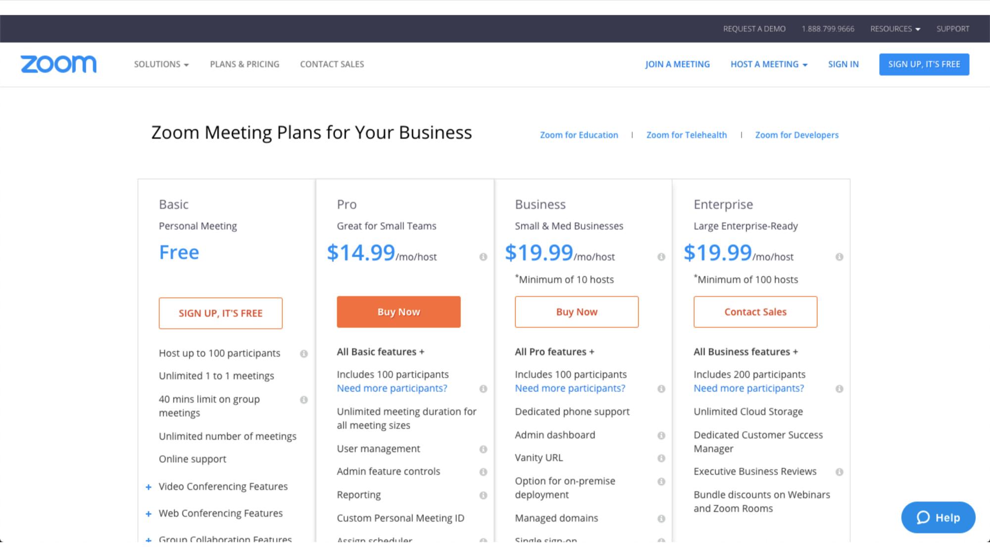 modelo de negócio freemium na empresa Zoom
