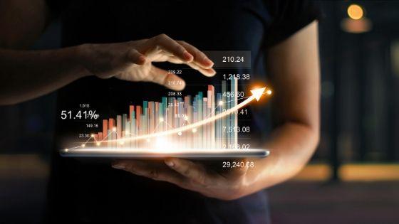 Gráfico comparativo em um tablet