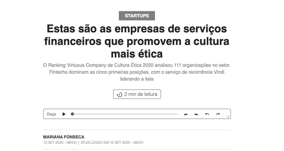 notícia da Virtuous Company na PEGN