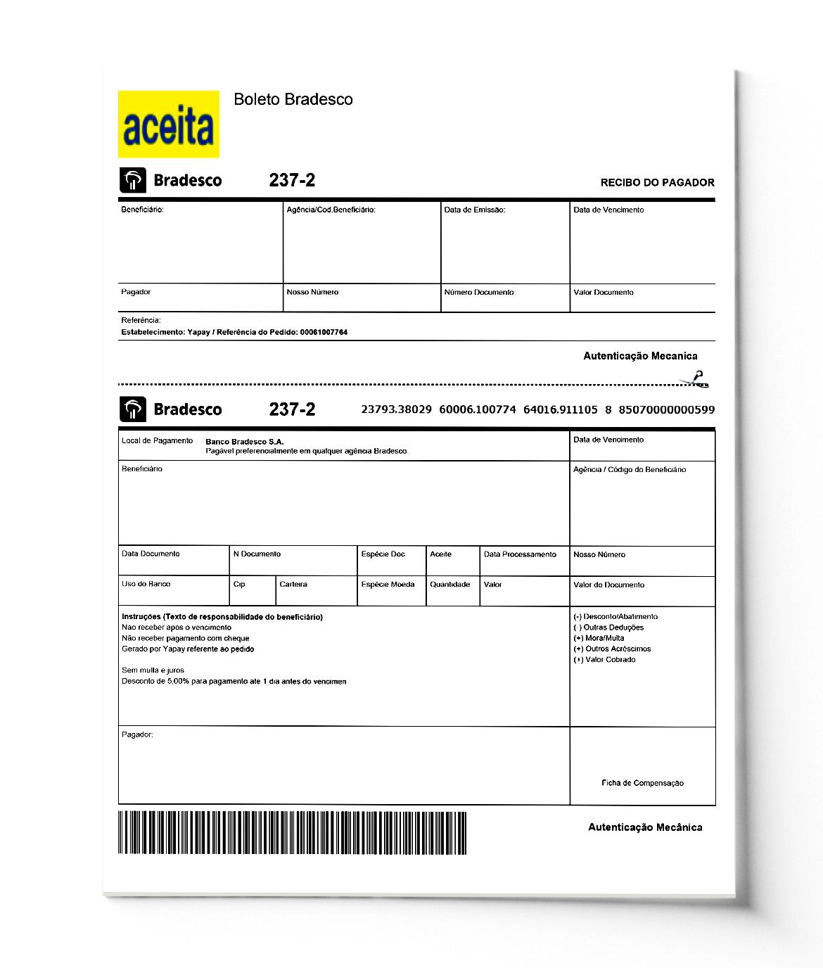imagem de um boleto de exemplo da Vindi com os campos descritos no texto em branco