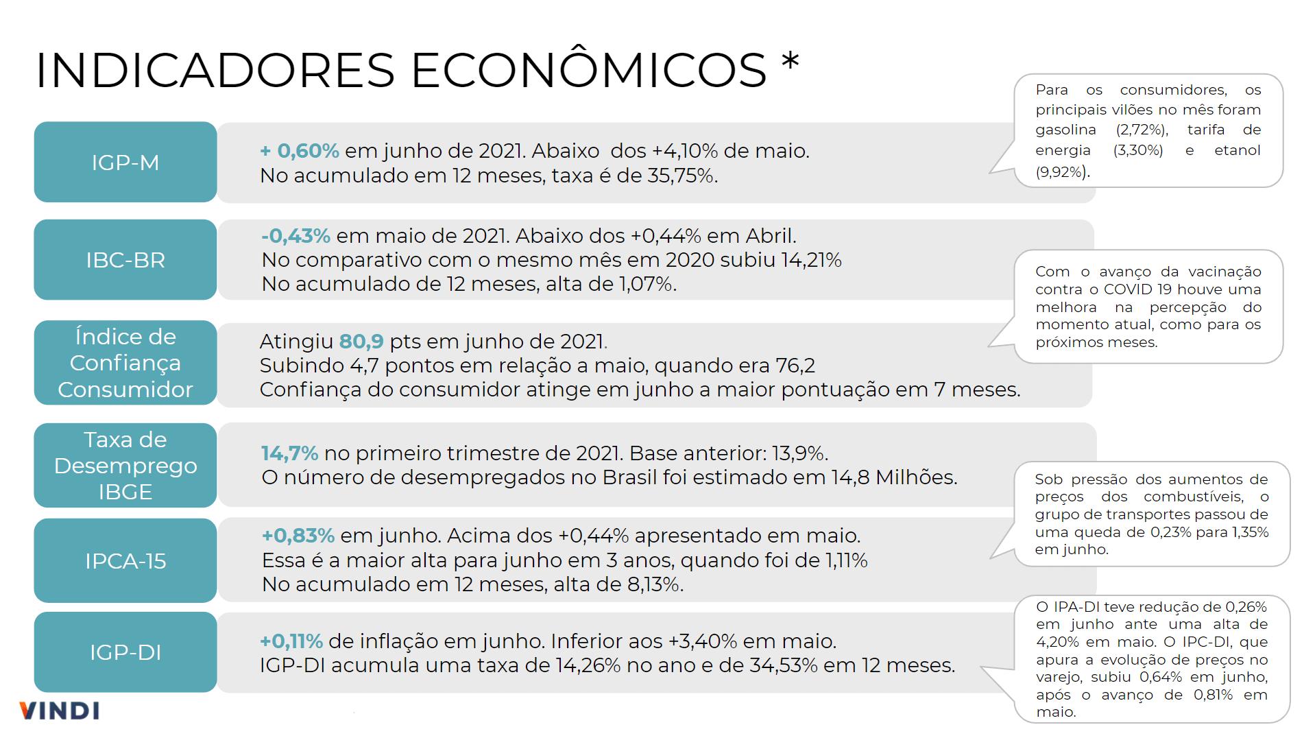 Indicadores Econômicos Brasil do Mês de Junho de 2021