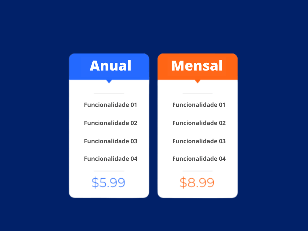 Imagem fictícia de tabela de preços de serviço por assinatura