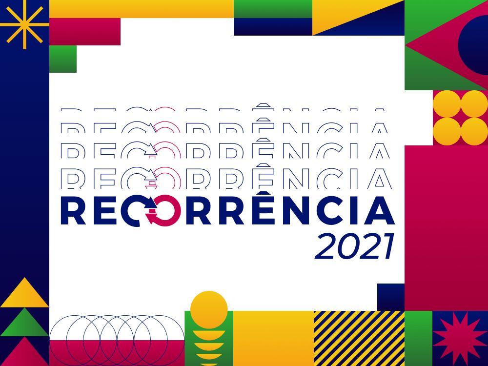 Recorrência 2021 - Fundo multicolorido com logomarca do evento recorrência em fade in e ano 2021