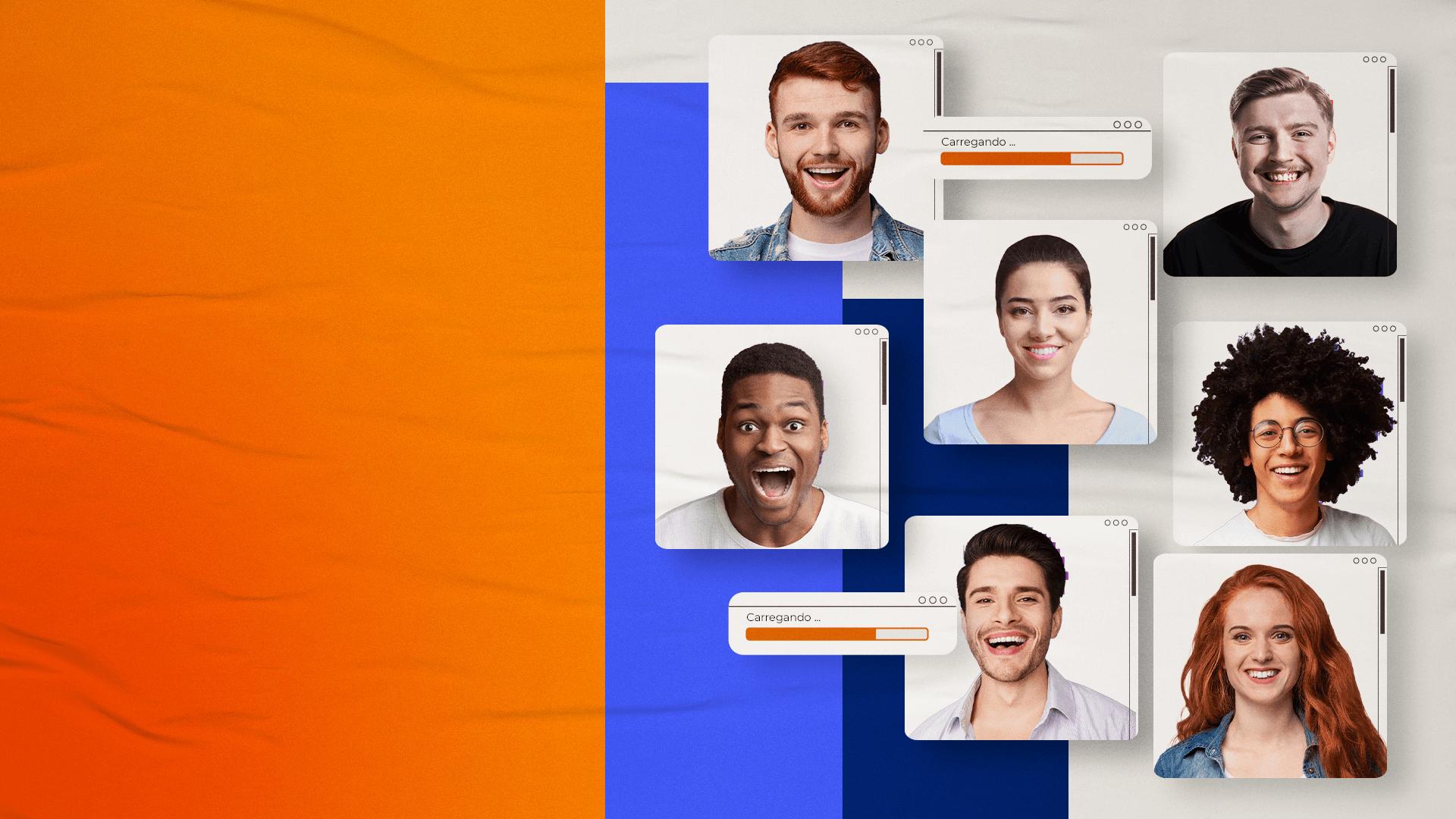 Indica Vindi - Indique clientes e ganhe recompensas em dinheiro. Fundo laranja com azul e imagens de pessoas diversas sorridentes